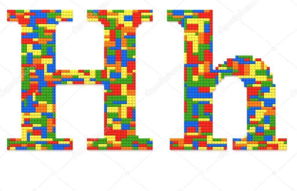 Letra h construido de ladrillos del juguete en colores al - Ladrillos de colores ...