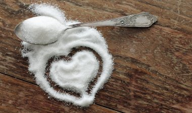 sugar-heart on wooden background