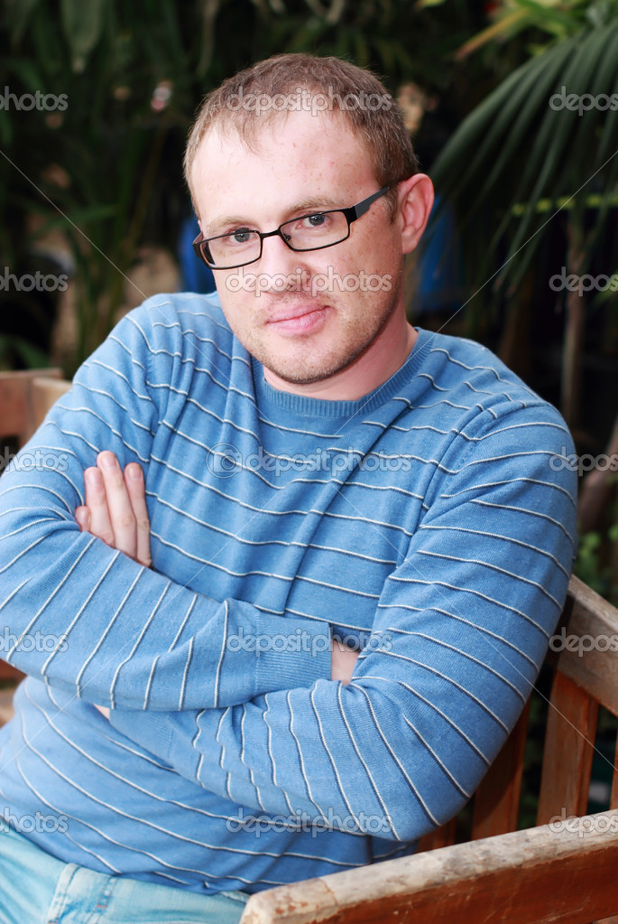 b908645285ce handsome 35 years old man with glasses outdoors — Stock Photo ...