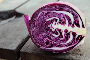 red Cabbage on wooden background
