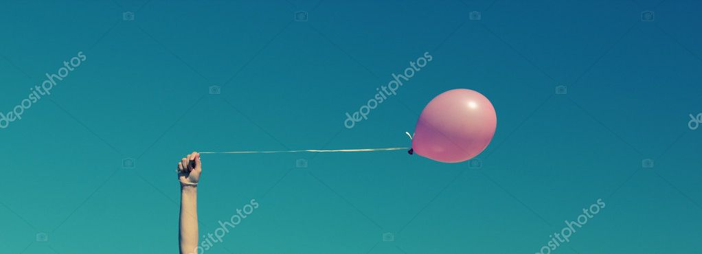 Pink Balloon Wallpaper Stock Photo