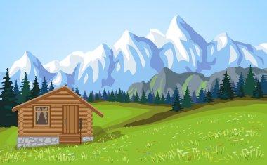 Mountain landscape vith wooden house.