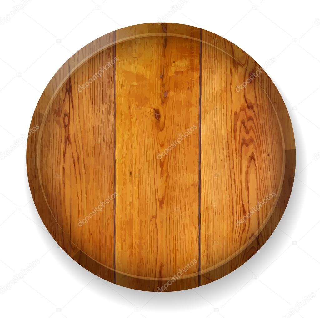 Realistic wooden round board.