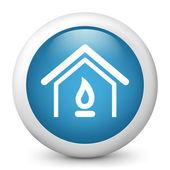 Fotografie Vektor blau glänzende Symbol mit Hausheizungen Konzept