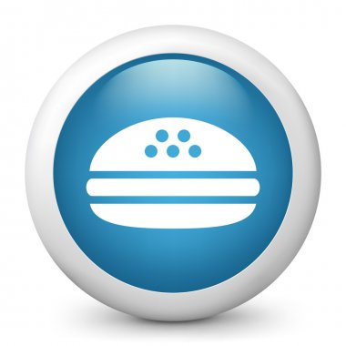 Vector blue glossy icon depicting a sandwich