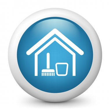 Vector blue glossy icon depicting cleaning