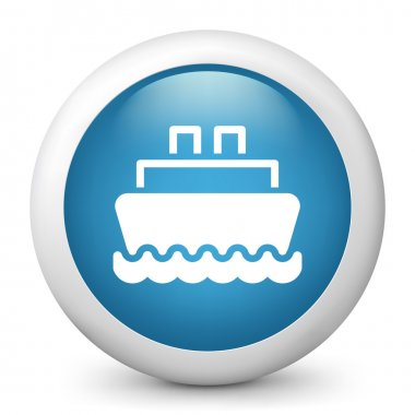 Vector blue glossy icon depicting ship