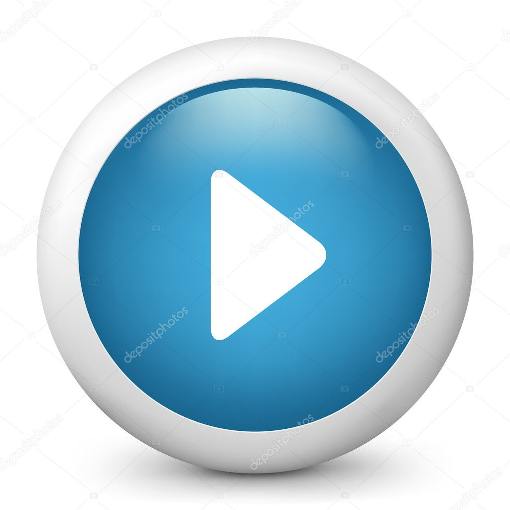 Vector blue glossy icon depicting play button