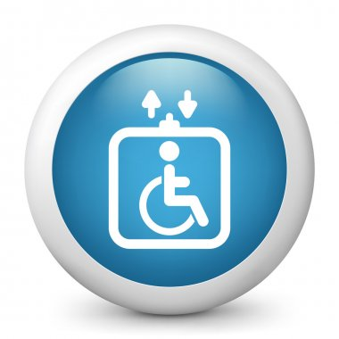 Vector blue glossy icon depicting handicapped