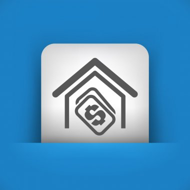 blue and gray icon depicting real estate concept