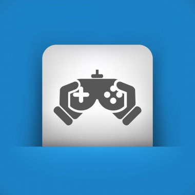 blue and gray icon depicting videogame controller