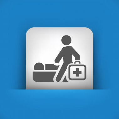 Vector illustration of single blue and gray icon depicting a physician home visit