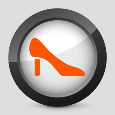 Vector illustration of a gray and orange icon depicting shoes
