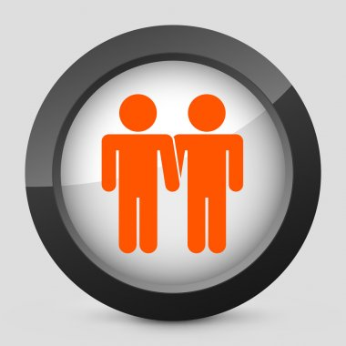 Vector illustration of a gray and orange icon depicting a gay union
