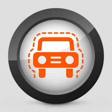 Vector illustration of a gray and orange icon depicting a car veicle