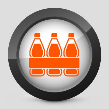 Vector illustration of a gray and orange icon depicting a pack of bottles