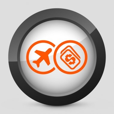 Vector illustration of a gray and orange icon depicting a fly