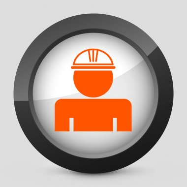 Vector illustration of a gray and orange icon depicting a worker protection
