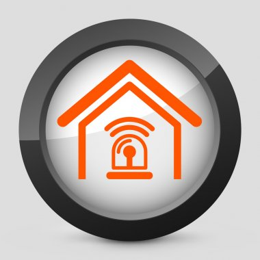 Vector illustration of a gray and orange icon depicting an alarm