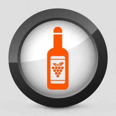 Vector illustration of a gray and orange icon depicting a wine bottle
