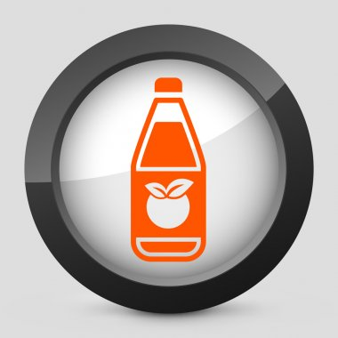 Vector illustration of a gray and orange icon depicting a bottle of apple or peach juice