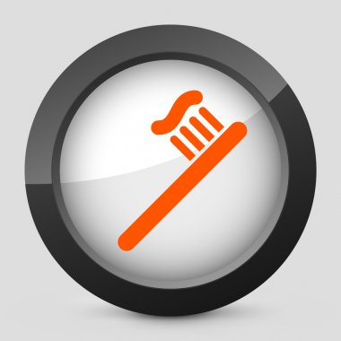 Vector illustration of a gray and orange icon depicting a toothbrush