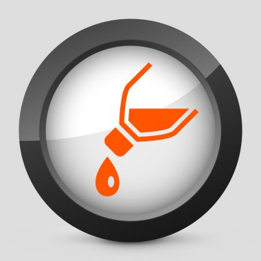 Vector illustration of a gray and orange icon depicting a bottle pouring liquid