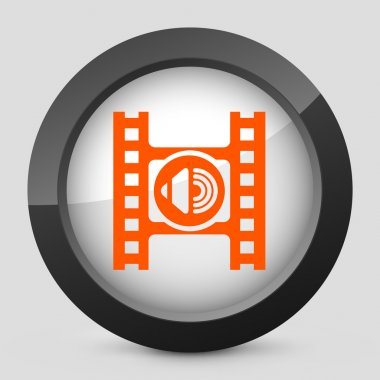 Vector illustration of a gray and orange icon depicting a audio button