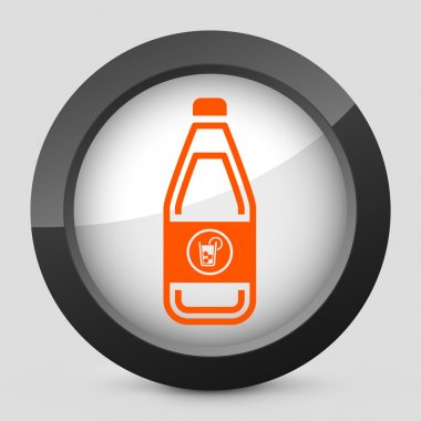 Vector illustration of a gray and orange icon depicting a bottle of cool drink