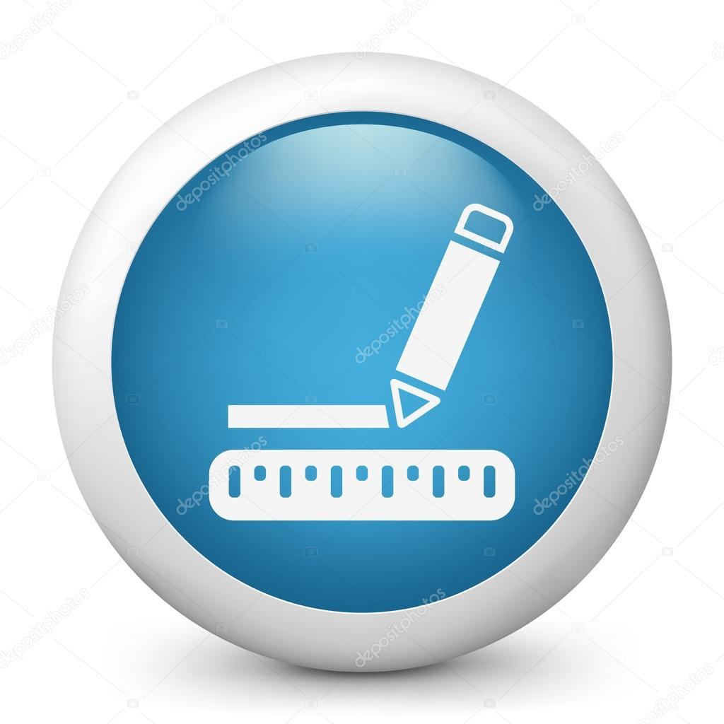 Vector blue glossy icon depicting measurement concept