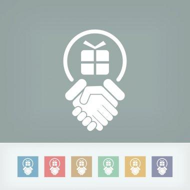Handshake for gift icon