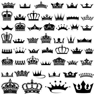 Crown design Set - 50 illustrations, Vector stock vector