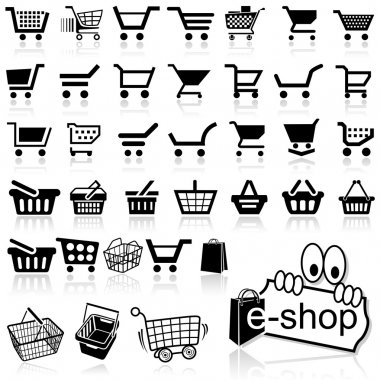Shopping Cart Icon - Set of Black Icons, Vector Illustration stock vector