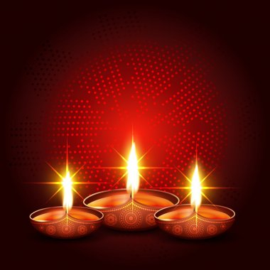 Shiny diwali diya with space for your text stock vector