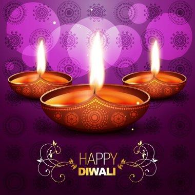 Beautiful shiny vector diya on purple background stock vector