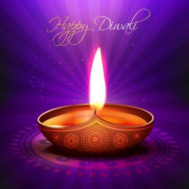 Beautiful glowing vector diwali diya background stock vector