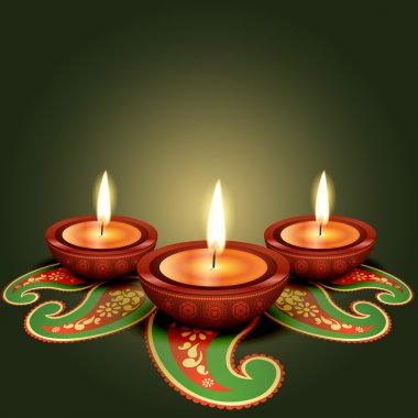 Stylish glowing diwali diya background stock vector
