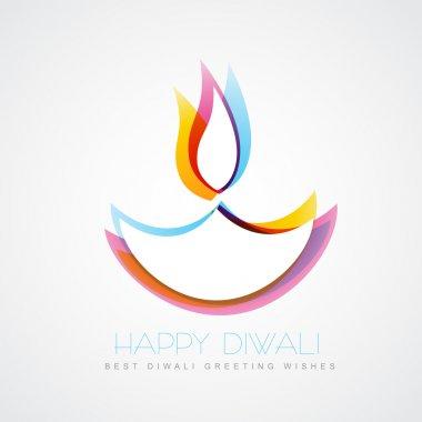 Stylish colorful diwali diya isolated on white background stock vector