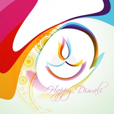 Stylish colorful diwali diya vector background stock vector