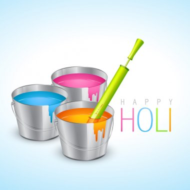 Vector illustration of colorful holi festival bucket with colors and pichkari stock vector