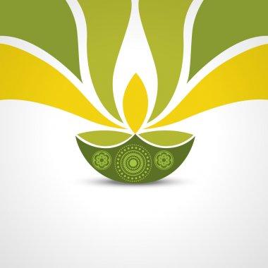 Vector green style happy diwali design stock vector
