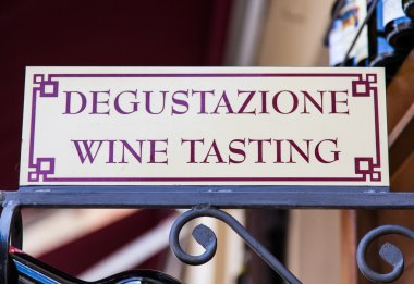 Signboard in an Italian wineshop, Orcia, Italy. stock vector