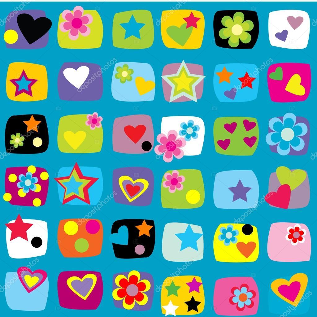 Imágenes Flores Corazones Y Estrellas Patrones Sin Fisuras Con