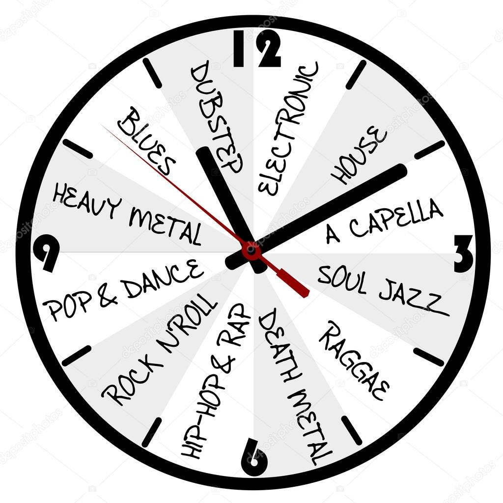 Music concept with clocks