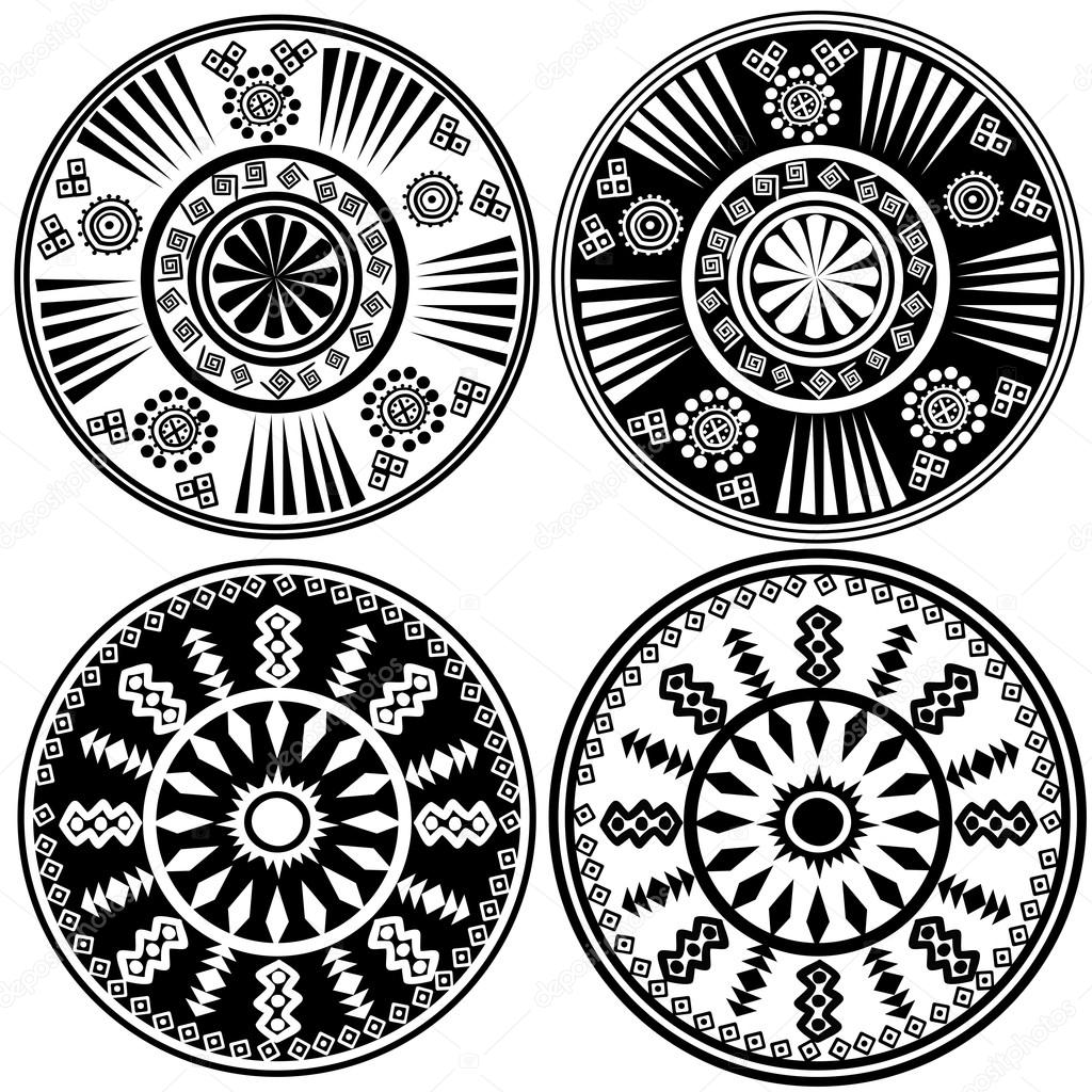 Black and white ornaments - Black And White Round Ornaments In Ethnic Style Stock Photo 24484461