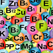 Fotografie Background seamless with chemical formulas of vitamins and miner
