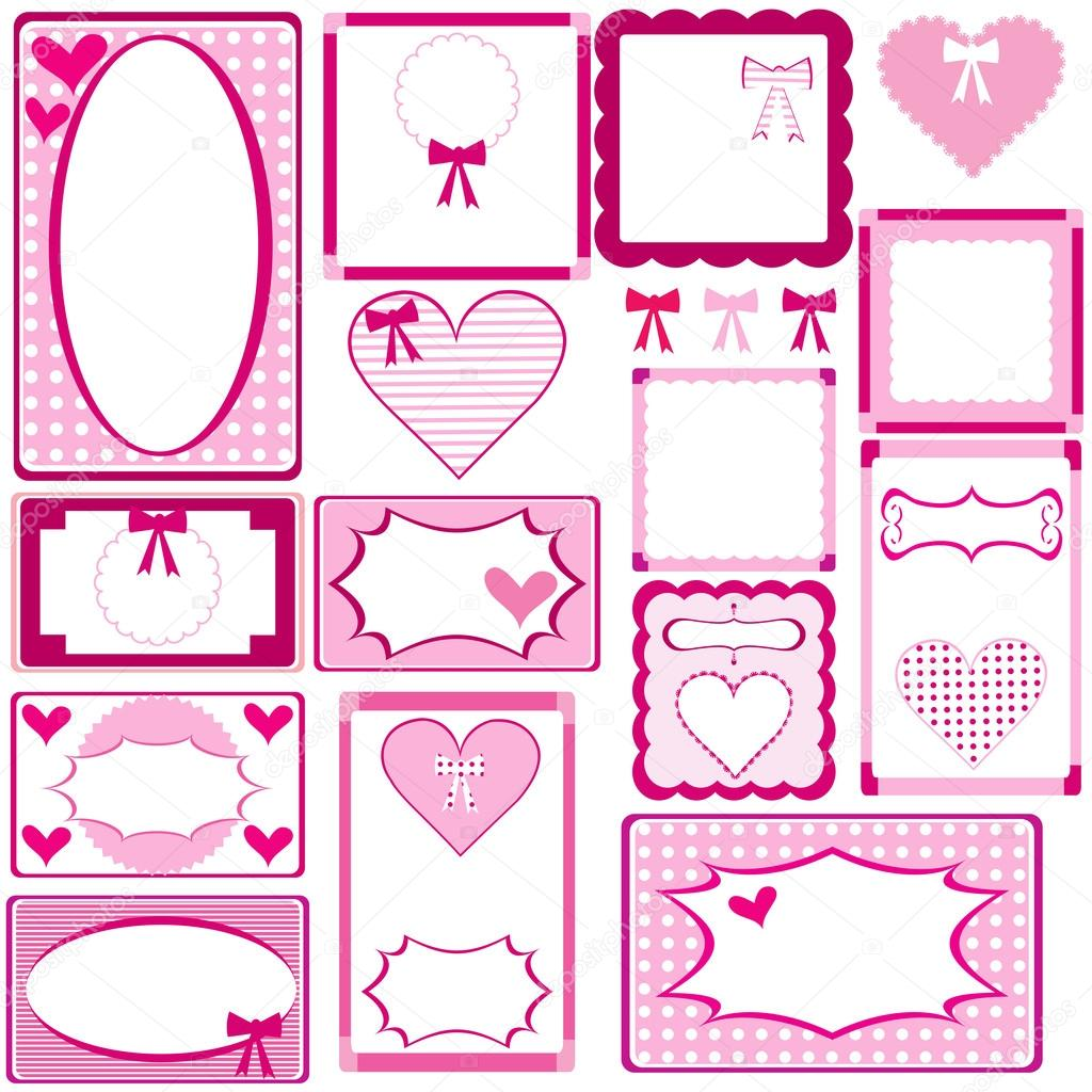 Set of cute pink frames for girls — Stock Photo © hibrida13 #42919275