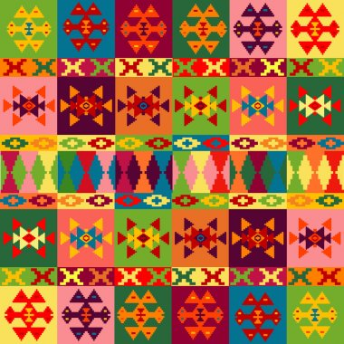 Ethnic motifs background, carpet with folk ornaments in differen