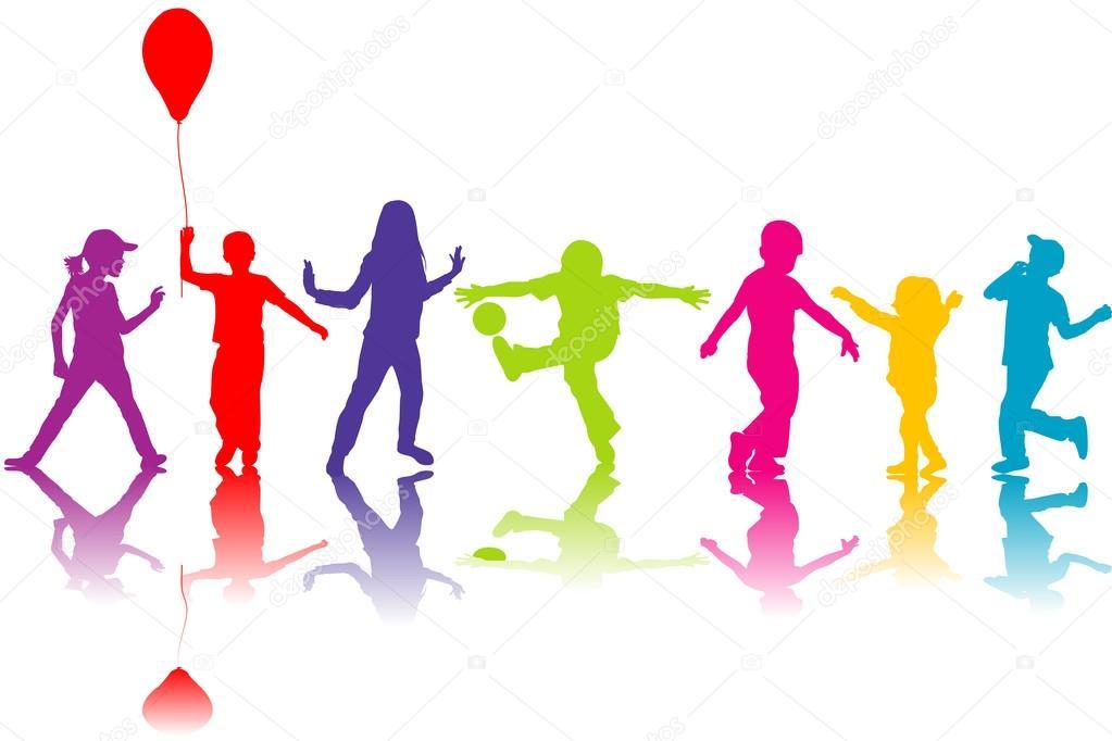 Imágenes: niños siluetas colores | colores siluetas de niños jugando ...
