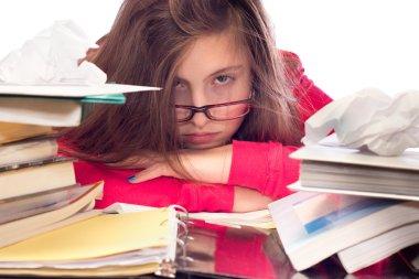 Girl Overwhelmed with School Work